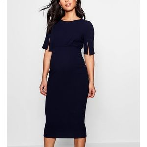 Boohoo maternity navy split sleeve midi dress